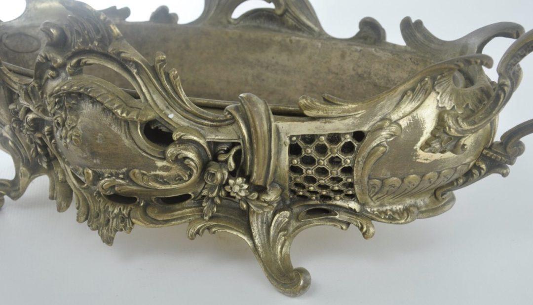 Винтажное бронзовое кашпо с посеребрением