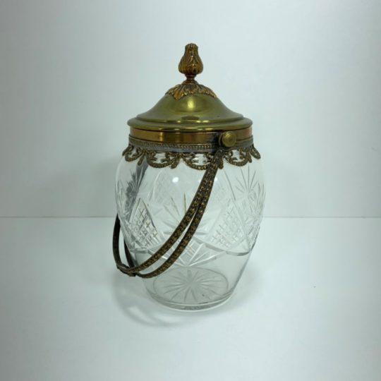 Антикварная хрустальная конфетница в бронзовой оправе