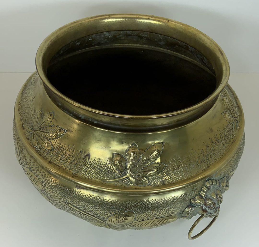 Винтажное медное кашпо с бронзовыми накладками