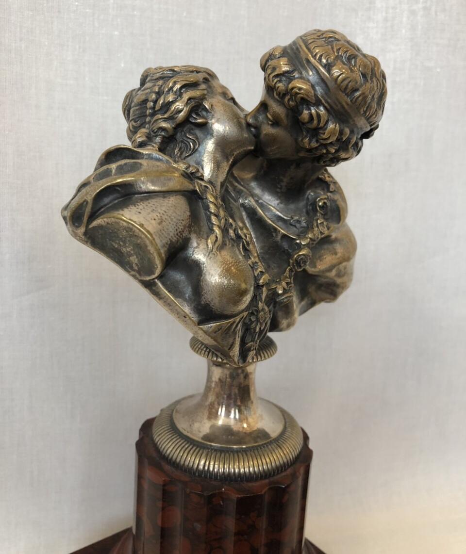 Винтажная посеребрённая статуэтка из бронзы