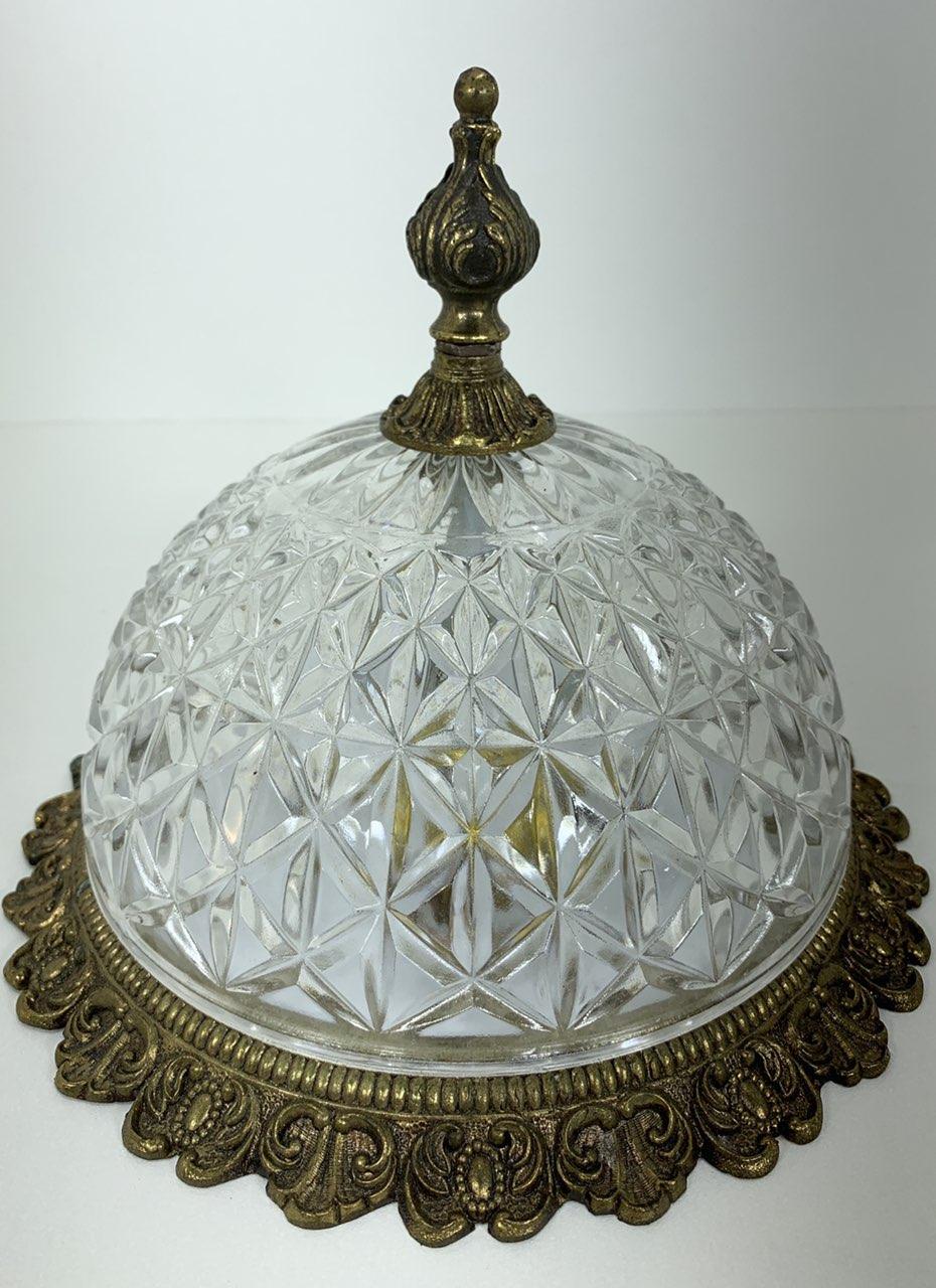 Винтажный потолочный фонарь из бронзы и гранённого стекла
