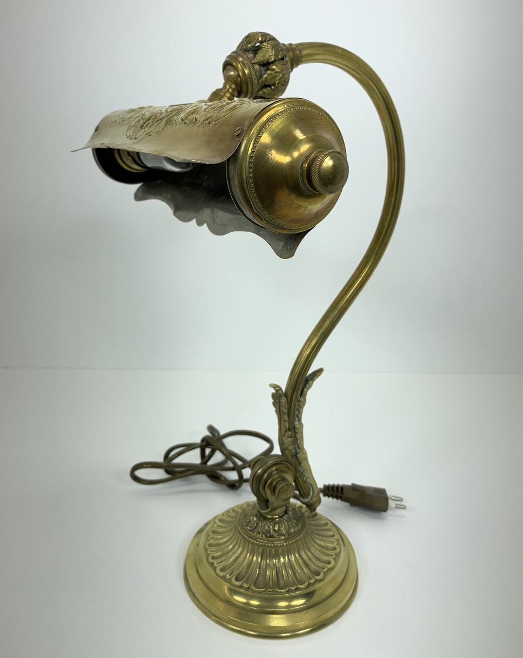 Антикварная настольная лампа из бронзы и латуни