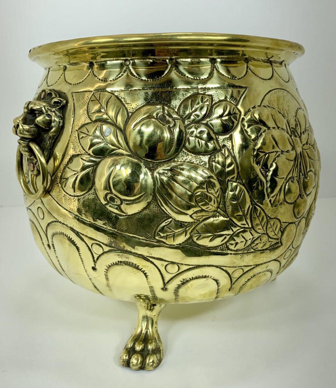 Винтажное медно-бронзовое кашпо