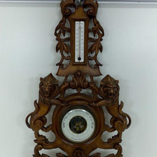Антикварный ореховый барометр-термометр