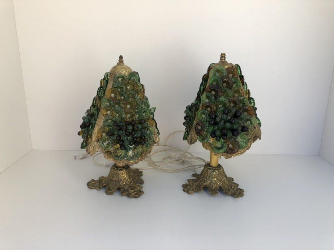 Винтажные  лампы из бронзы и стекла Мурано