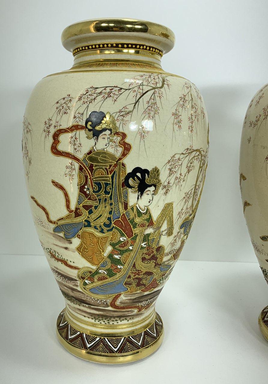 Винтажная пара ваз в стиле шинуазри