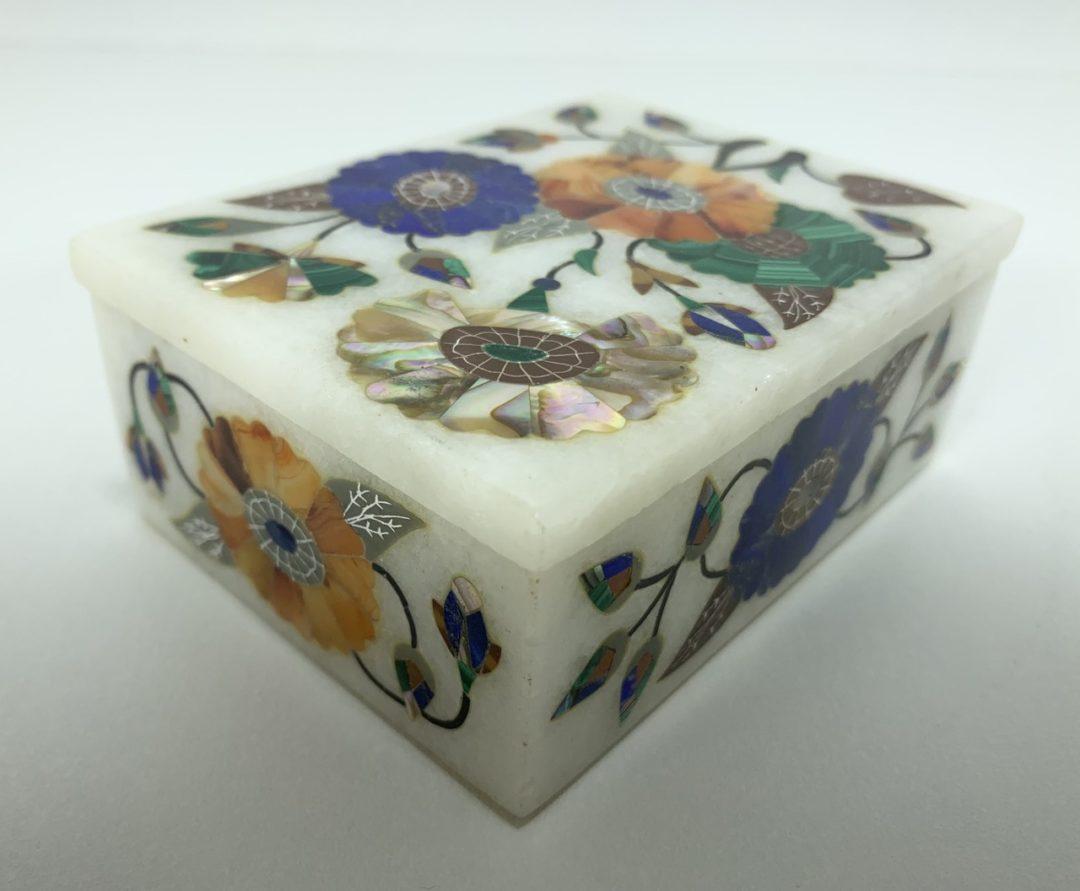 Антикварная мраморная шкатулка с инкрустацией