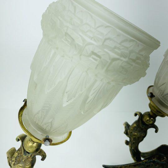 Антикварные бронзовые бра с хрустальными плафонами