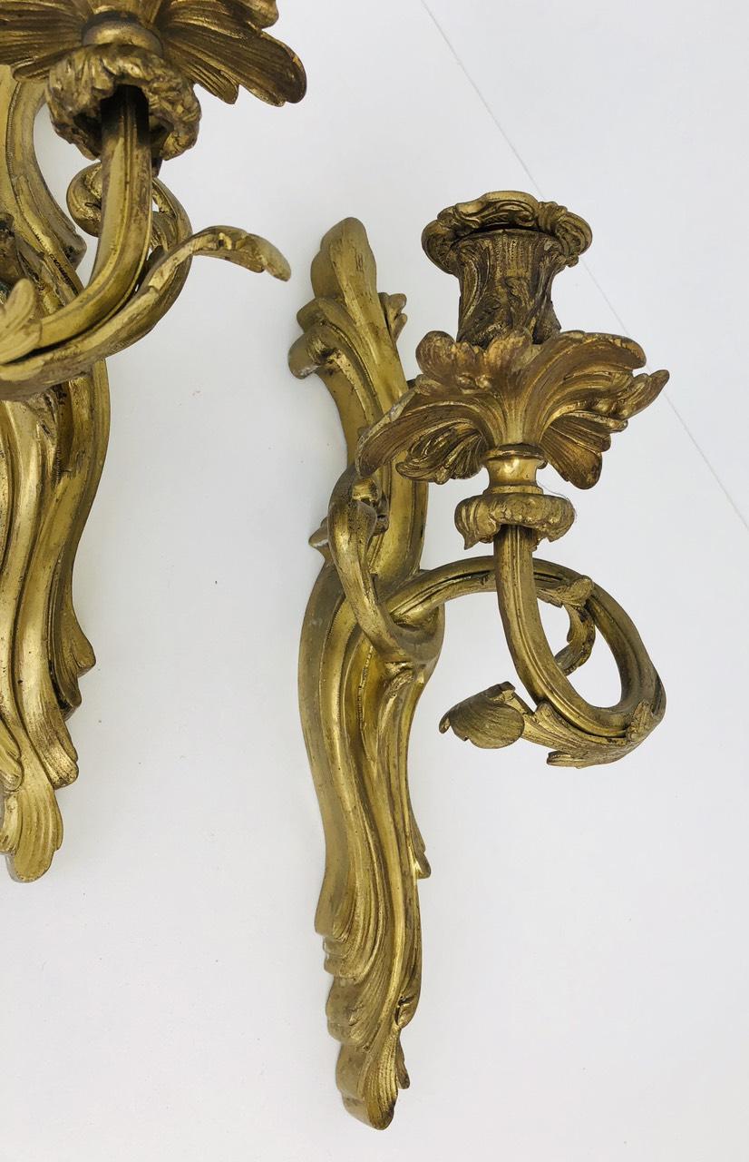 Антикварные бронзовые бра в стиле Рококо