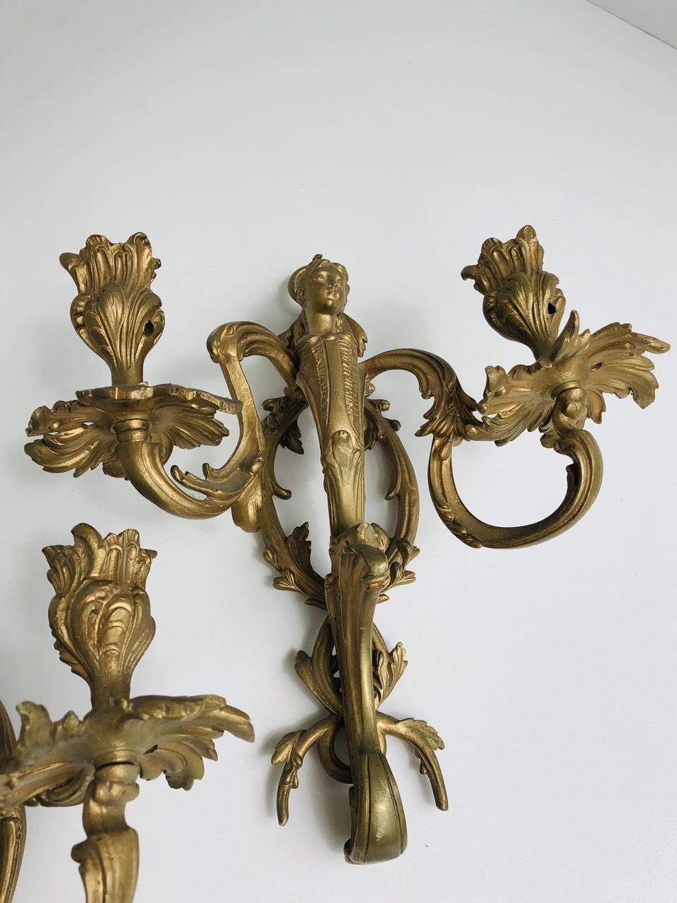 Антикварные бронзовые бра в стиле Ренессанс