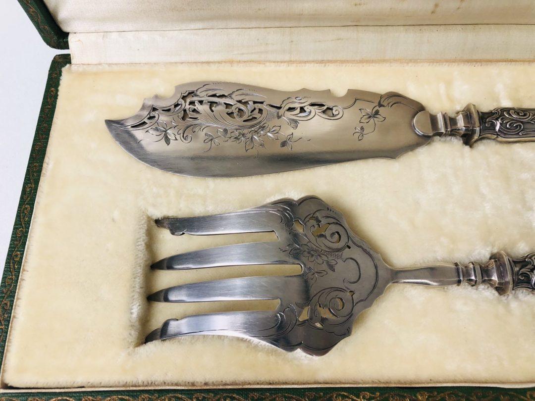 Антикварный столовый набор для сервировки рыбных блюд