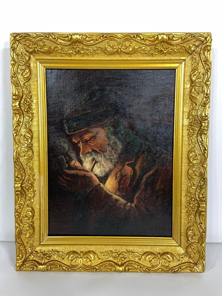 Антикварная картина в позолоченной раме