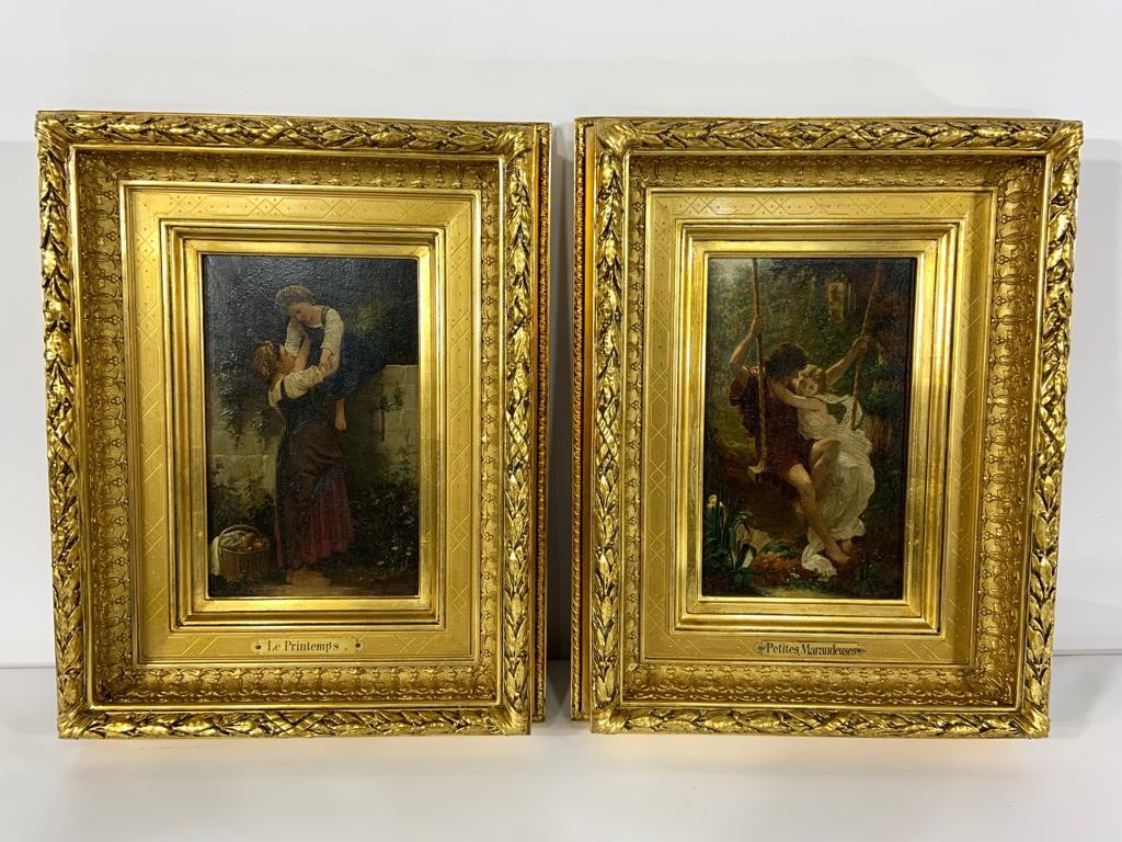 Пара антикварных картин в золоченых рамах