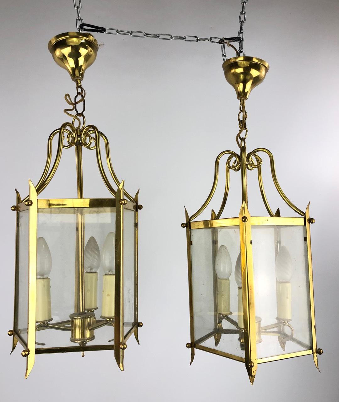 Винтажная пара латунных фонарей