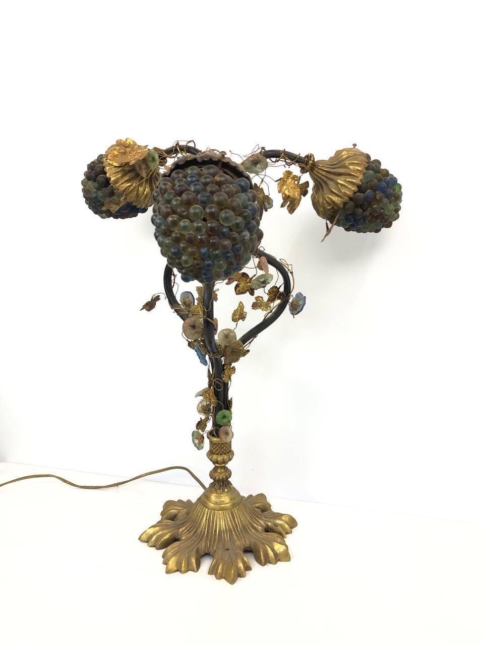 Антикварная лампа с плафонами из муранского стекла
