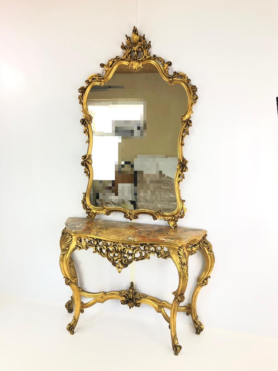 Винтажная консоль с зеркалом в стиле Барокко