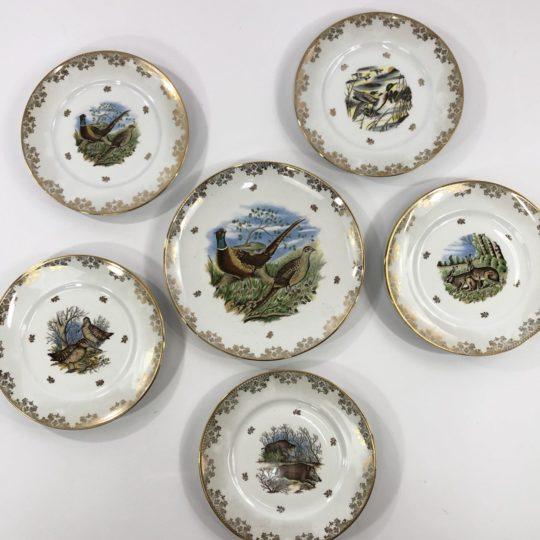Винтажный набор тарелок лимож с мотивом зверей