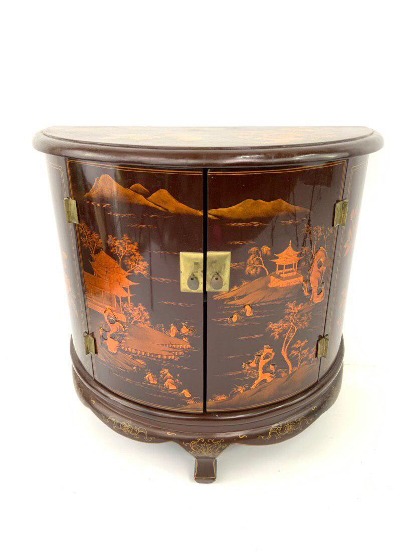 Винтажная полукруглая тумбочка в стиле Шинуазри