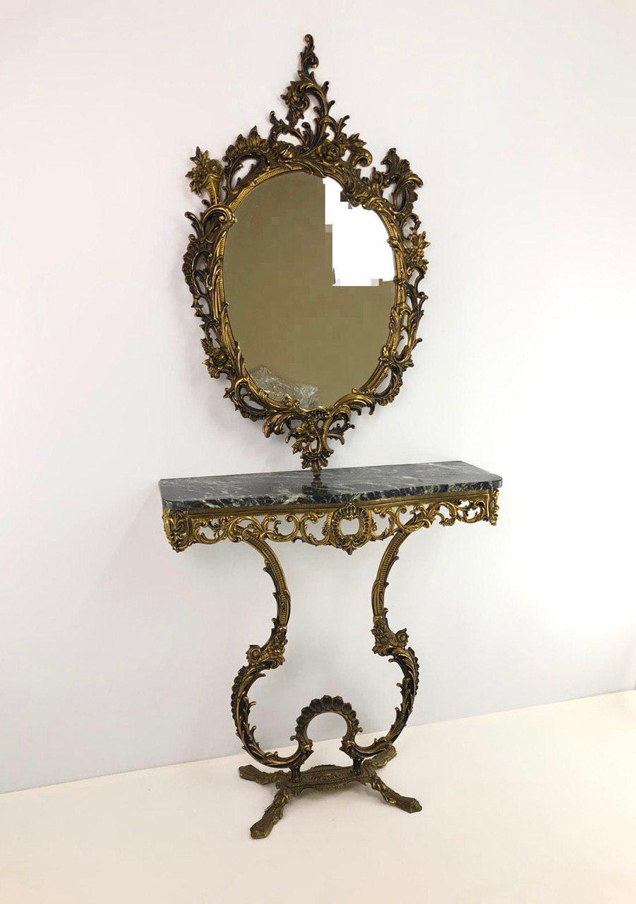Винтажная бронзовая консоль и зеркало