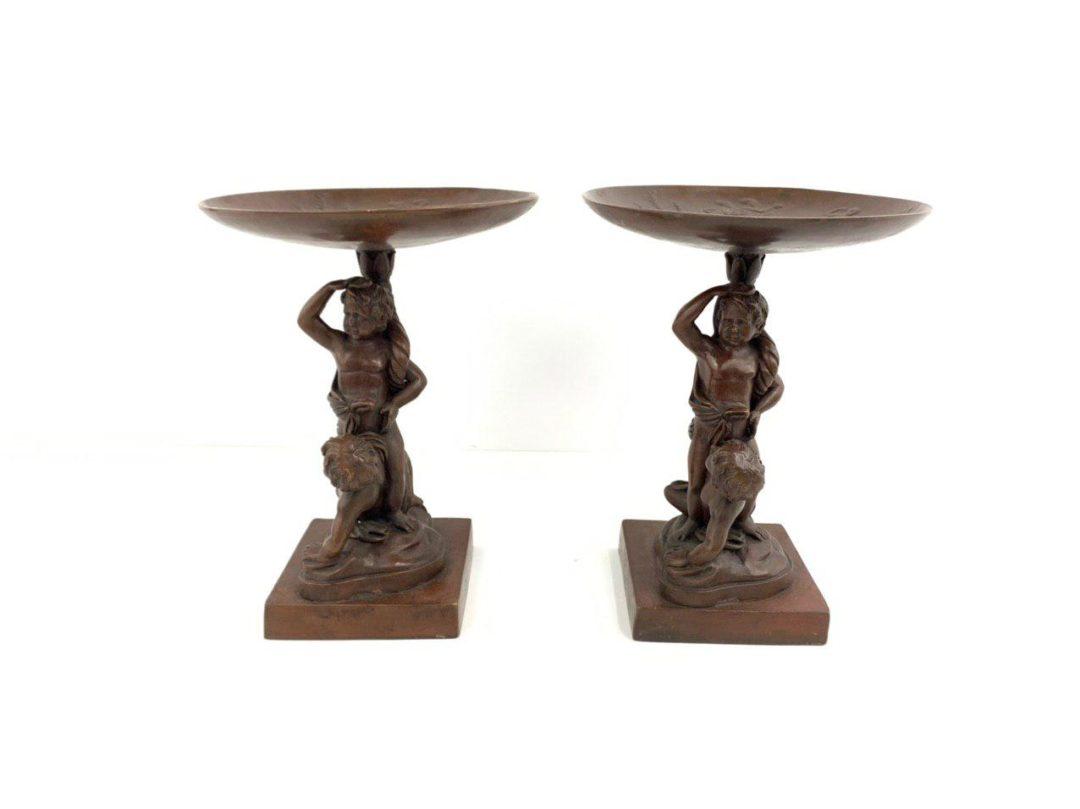 Винтажная пара ваз из бронзы