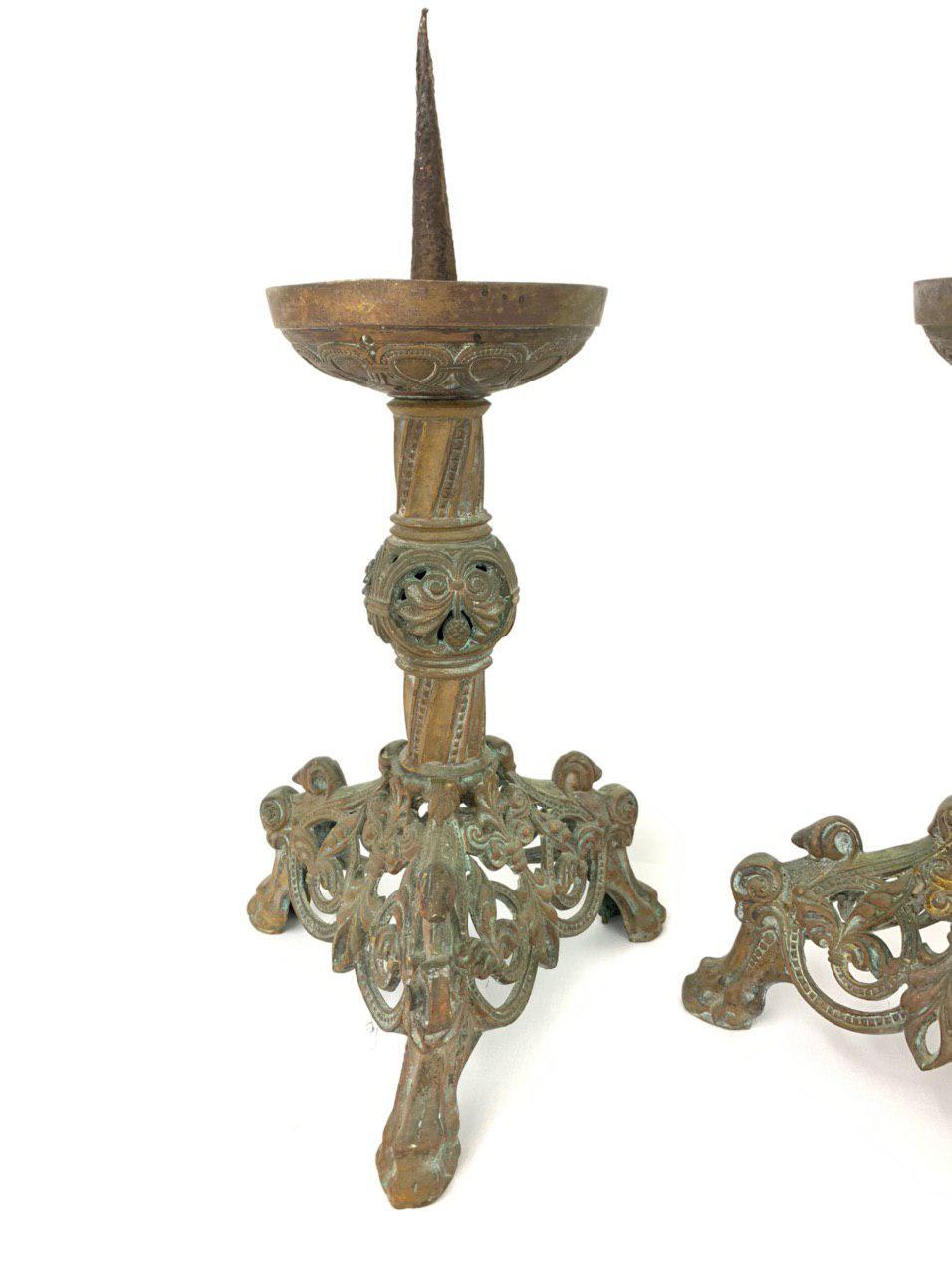 Антикварные подсвечники из бронзы