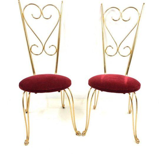 Винтажная пара металлических стульев