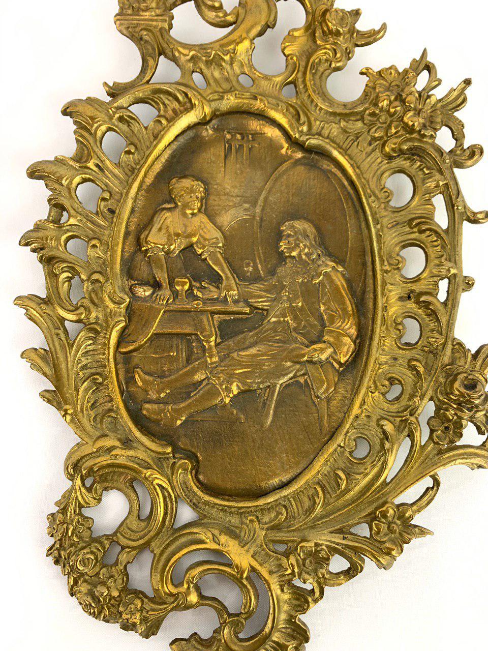 Винтажная пара бронзовых картин