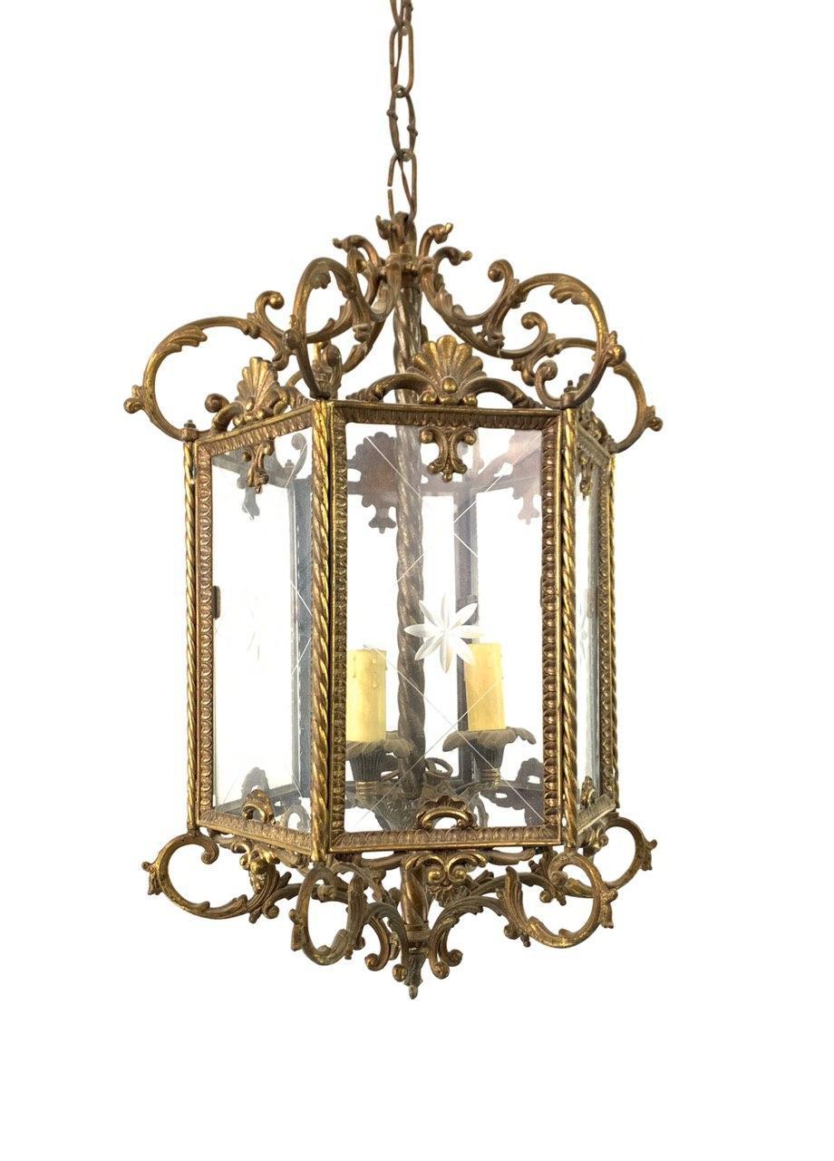 Винтажный бронзовый фонарь
