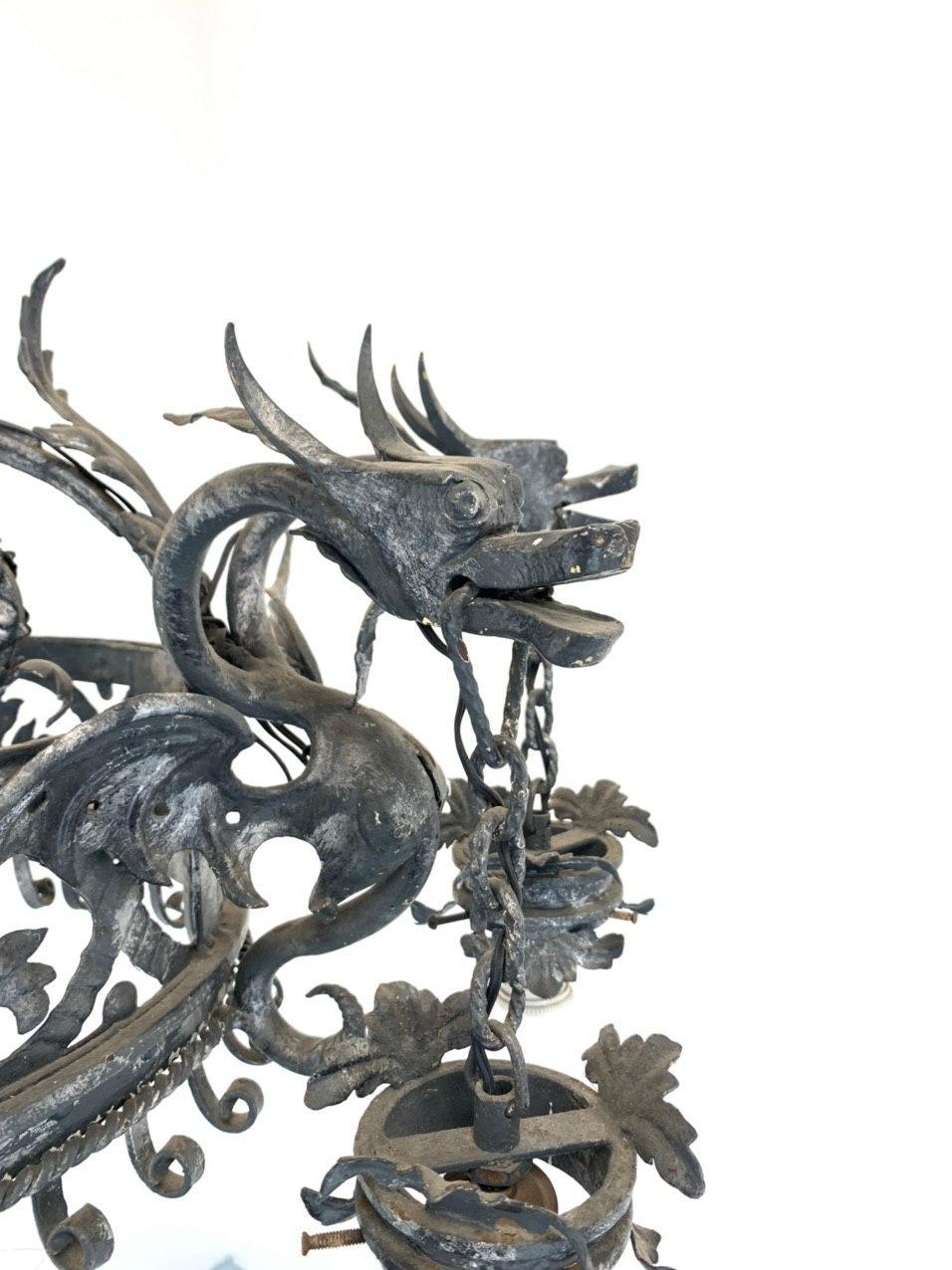 Антикварная кованая люстра