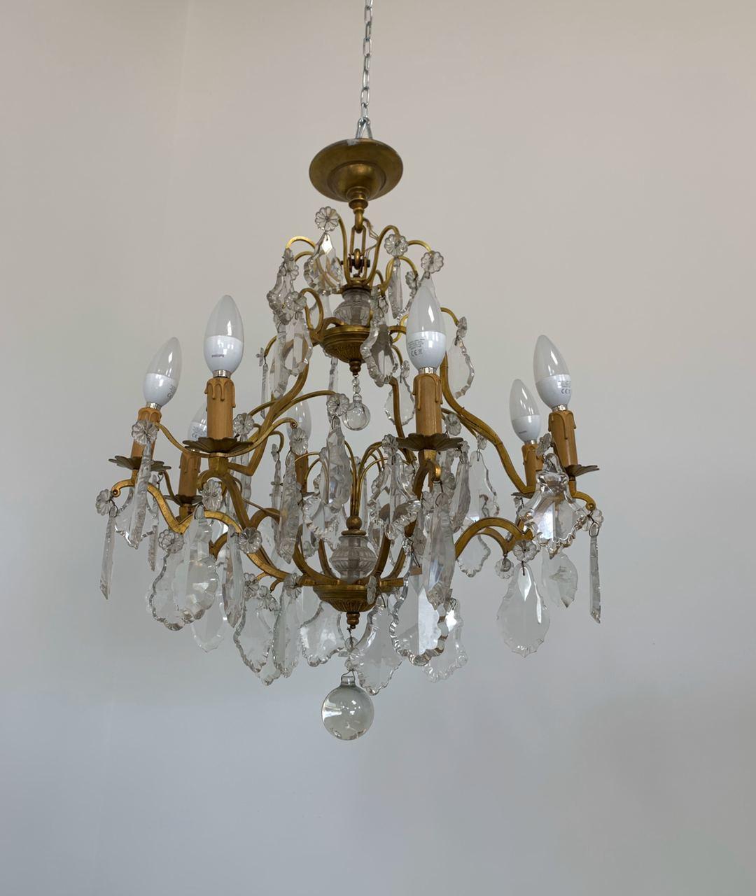 Винтажная люстра из бронзы с хрусталём