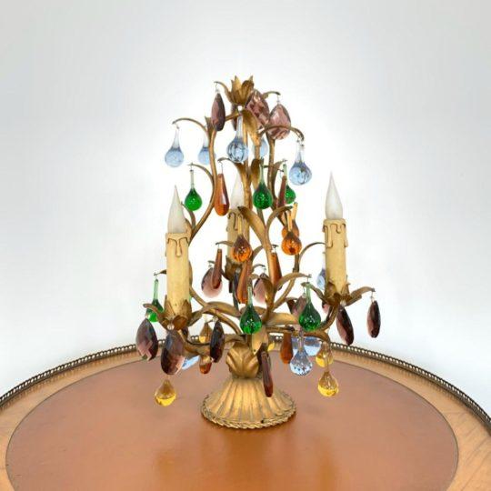 Антикварный светильник со стеклом Мурано