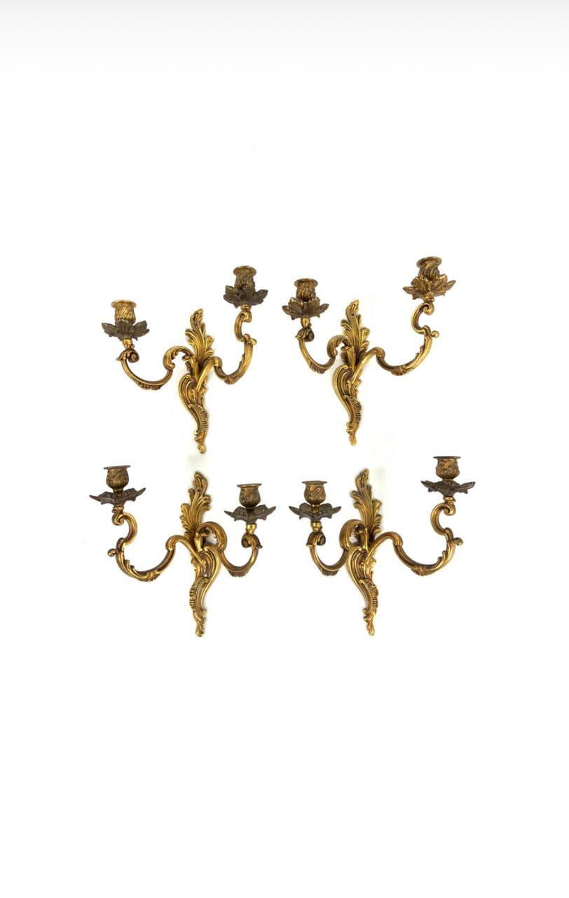 Винтажные бра из бронзы в стиле Рококо