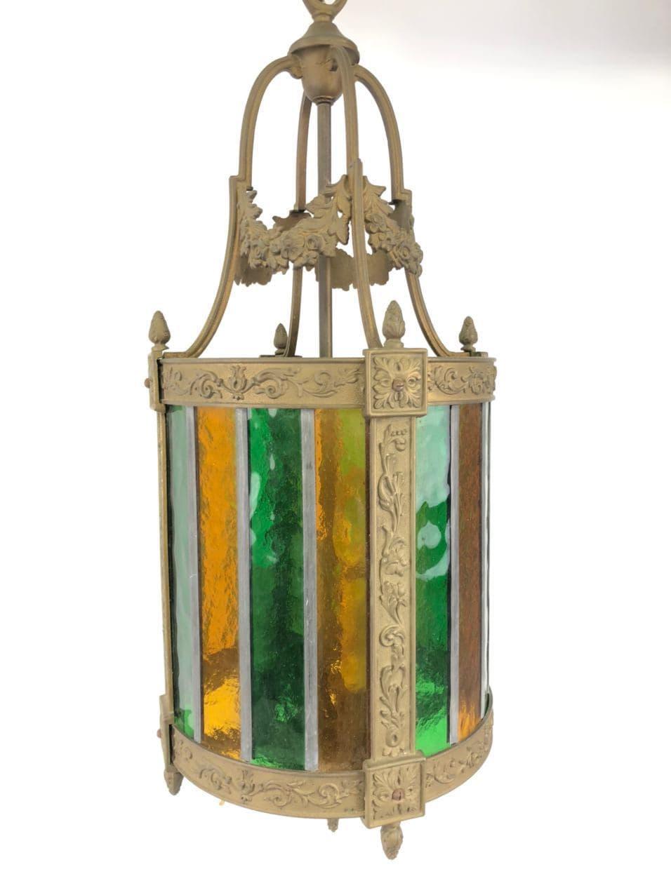 Антикварный бронзовый фонарь с витражом