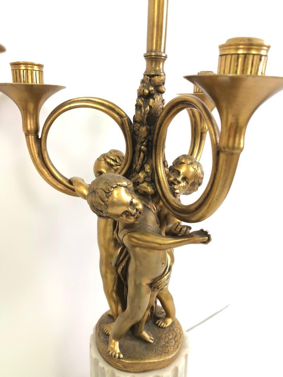 Антикварная пара ламп из золоченой бронзы