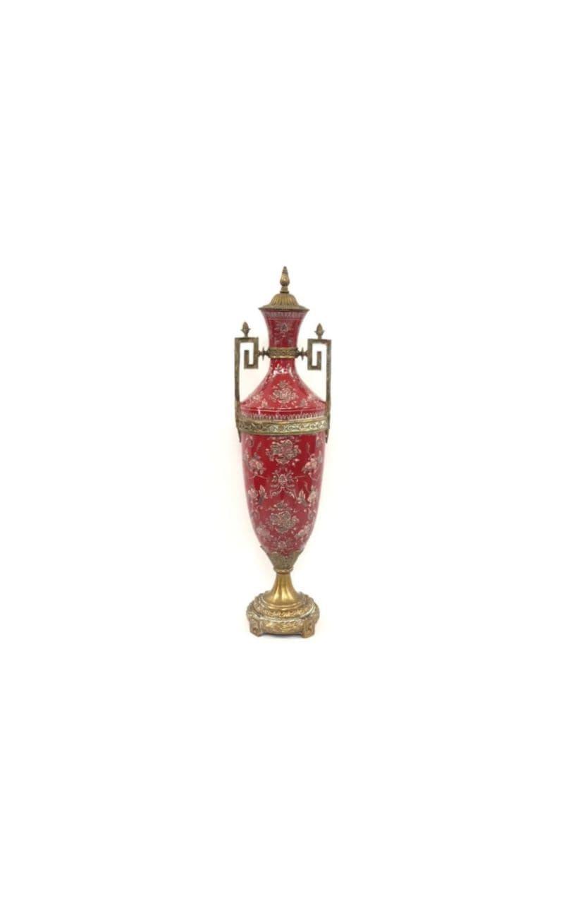 Винтажная керамическая ваза в бронзовой оправе