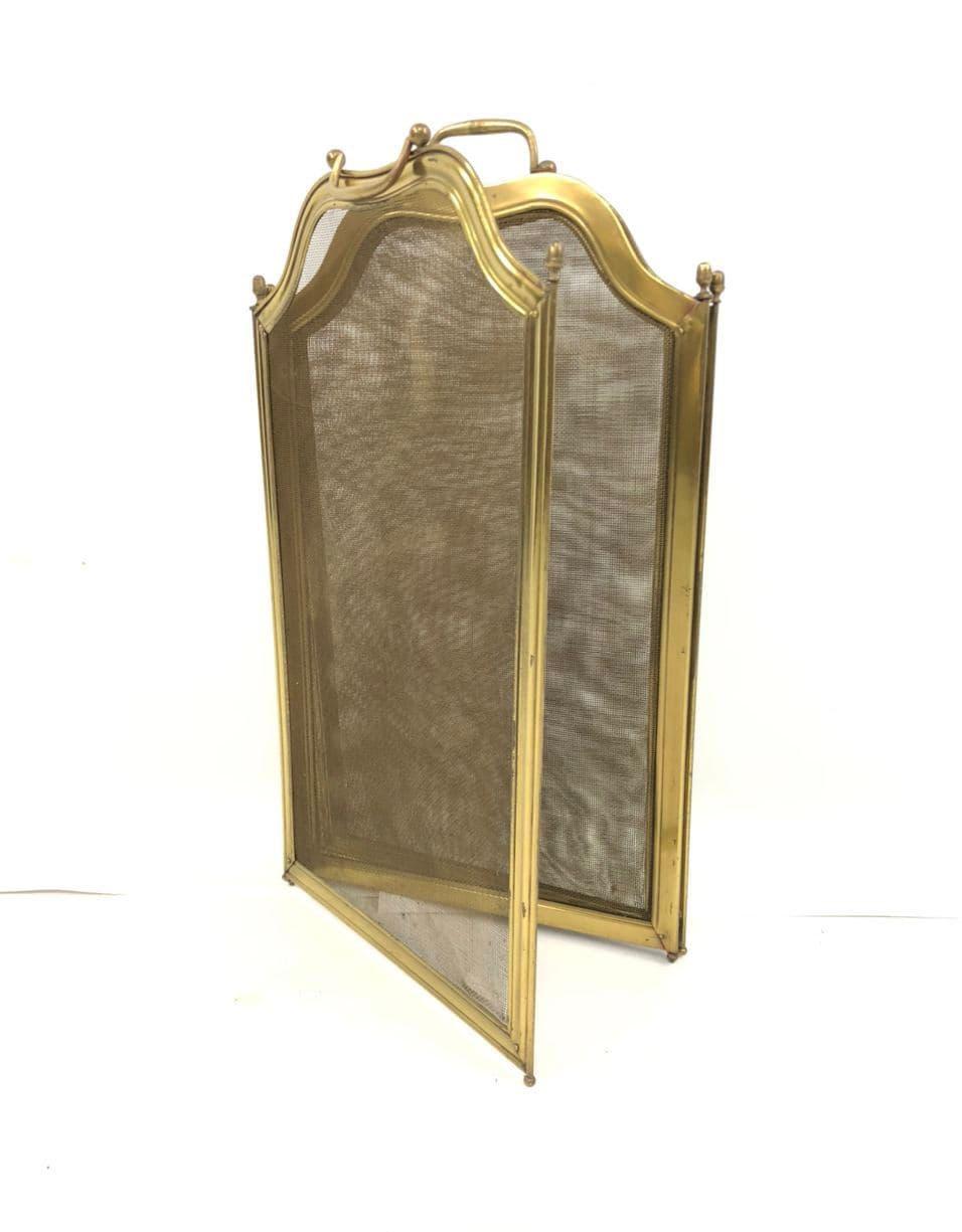 Винтажный каминный экран из латуни
