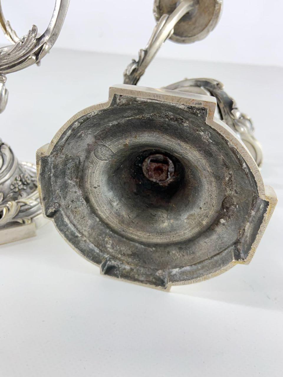 Антикварные посеребрённые подсвечники из бронзы