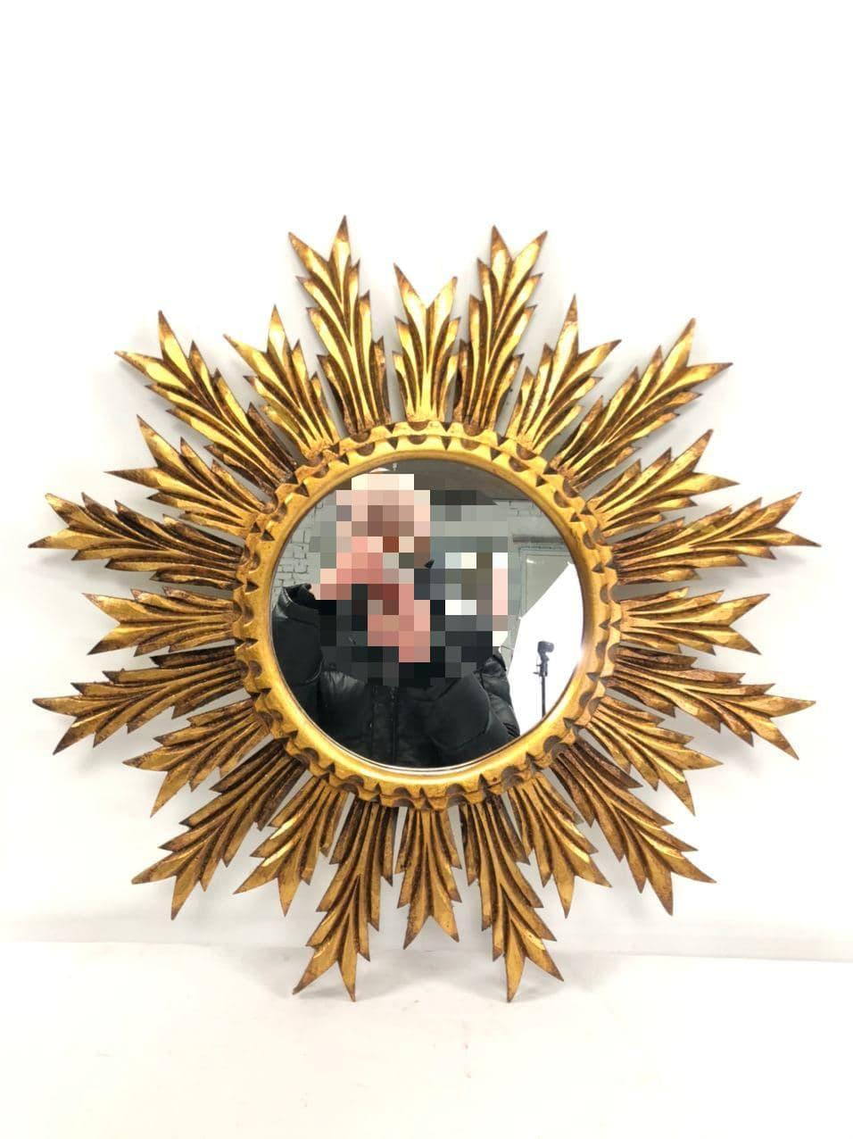 Винтажное деревянное зеркало в виде солнца