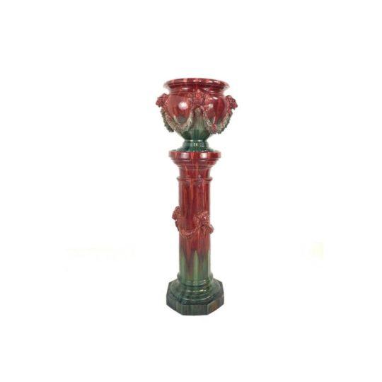 Антикварная керамическая колонна с кашпо