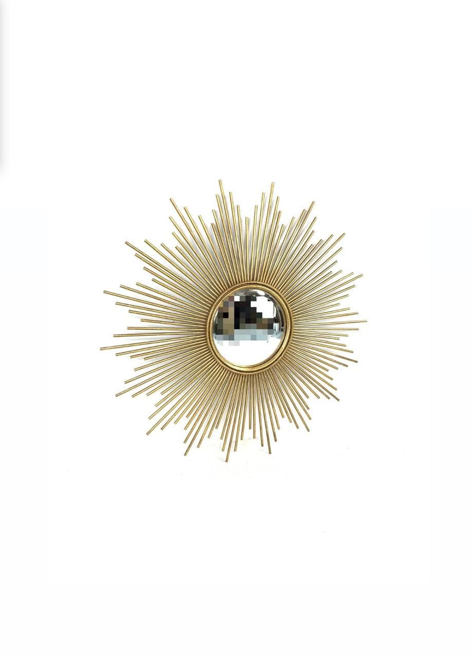 Винтажное  металлическое зеркало в виде солнца