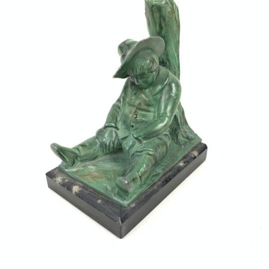 Антикварная фигурка из бронзы на мраморном цоколе