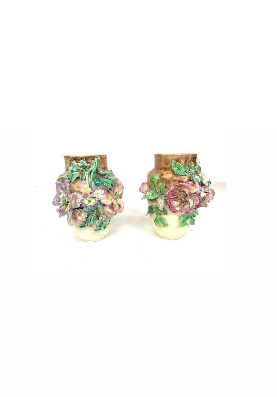 Антикварная пара ваз техники барботин