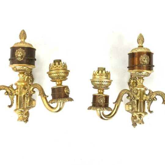 Винтажная пара бра из бронзы
