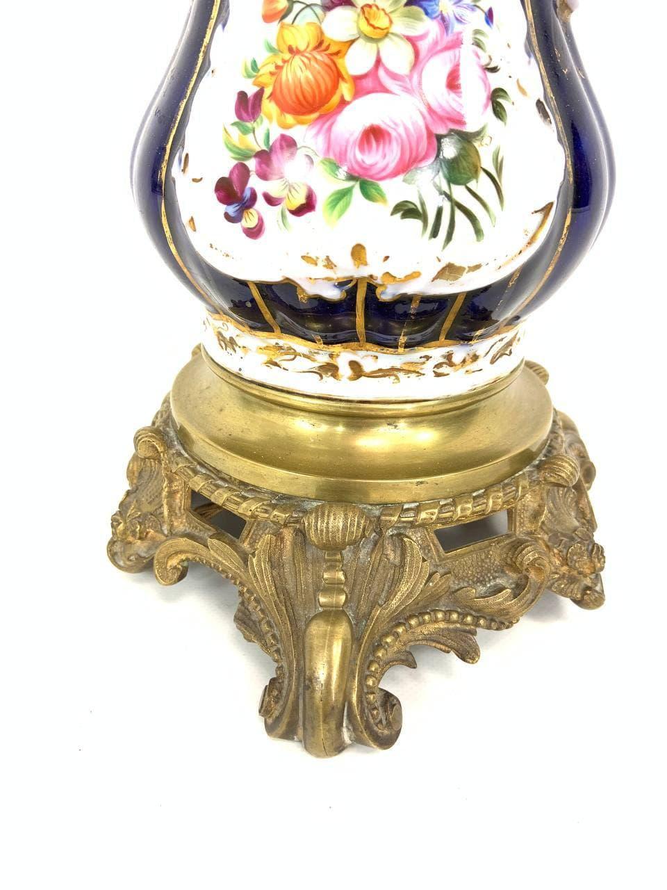 Антикварная расписная лампа Vieux Paris