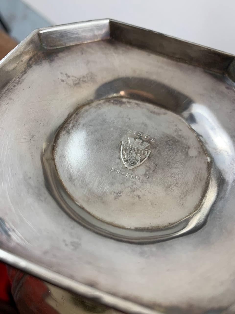 Антикварный графин из хрусталя и посеребрённого металла бренда LUTETIA