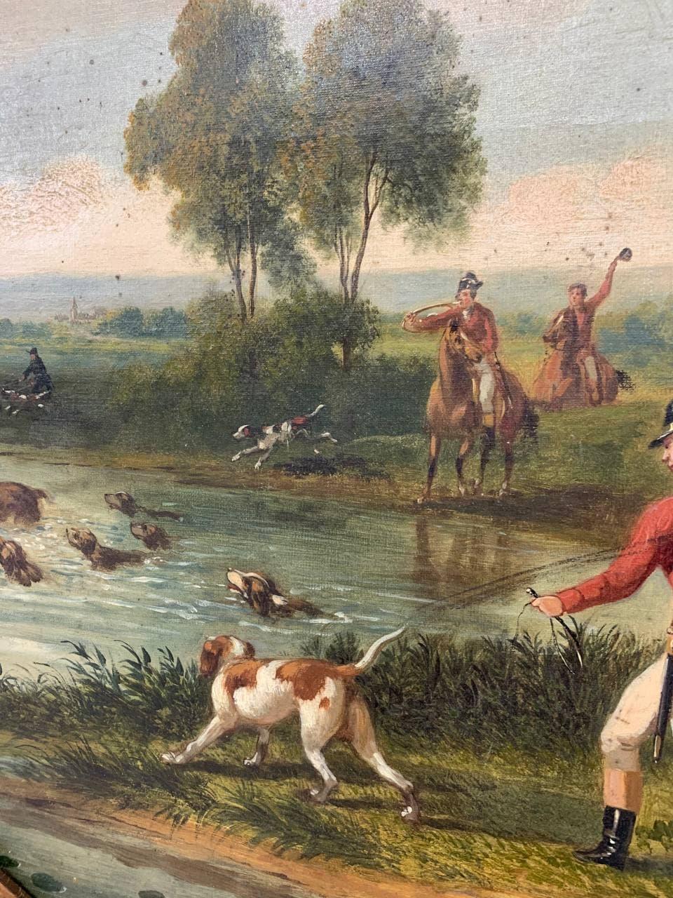 Антикварные парные картины «Охота»
