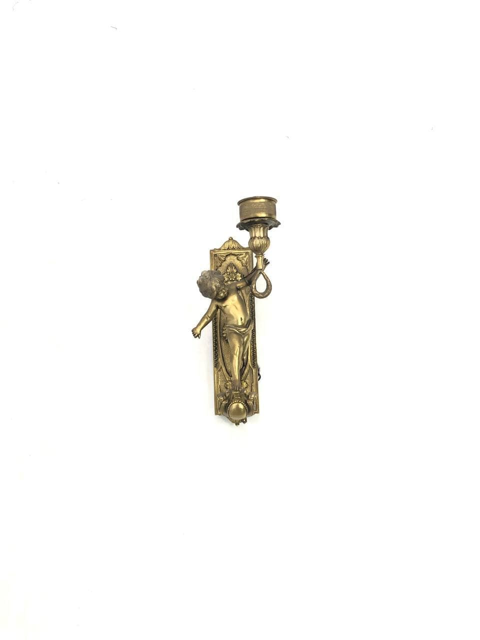 Винтажное бронзовое бра в виде подсвечника