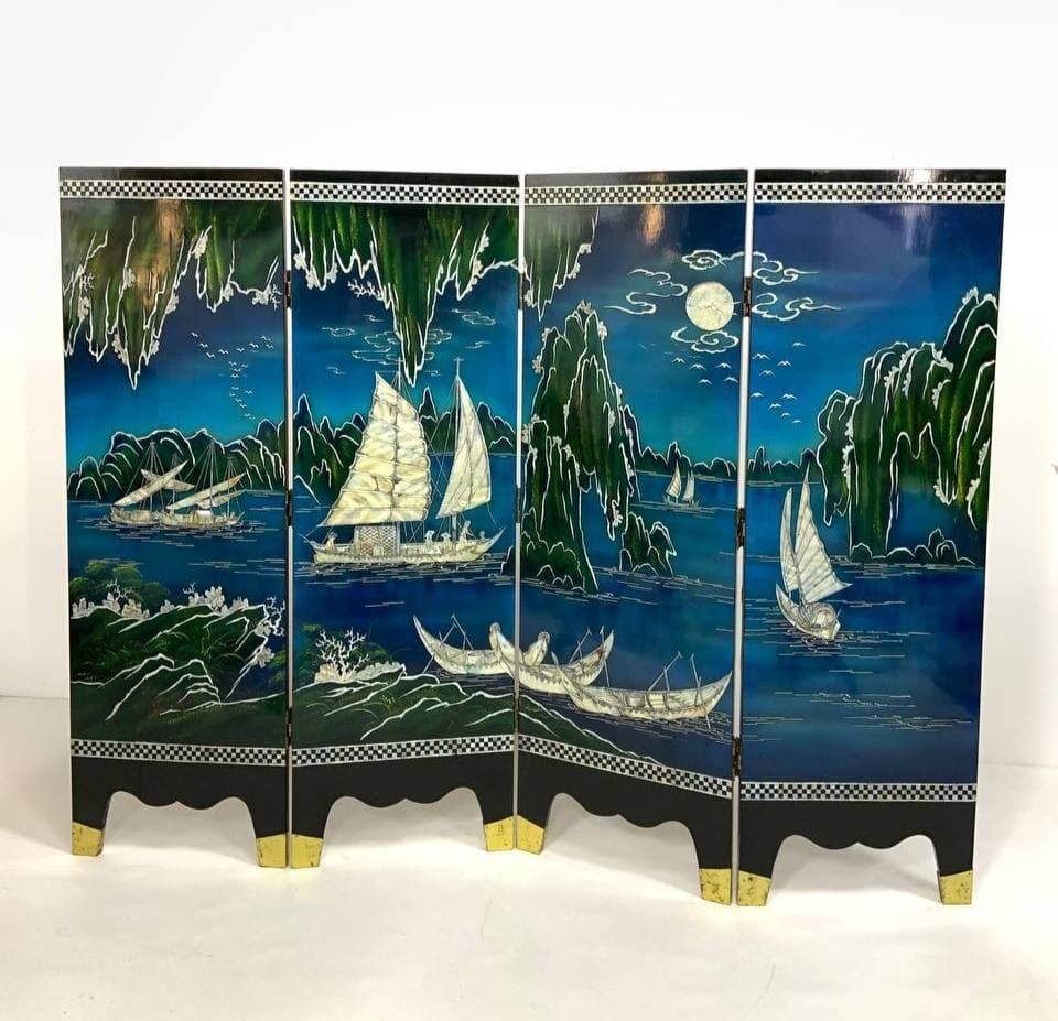 Антикварная двусторонняя ширма в стиле Шинуазри