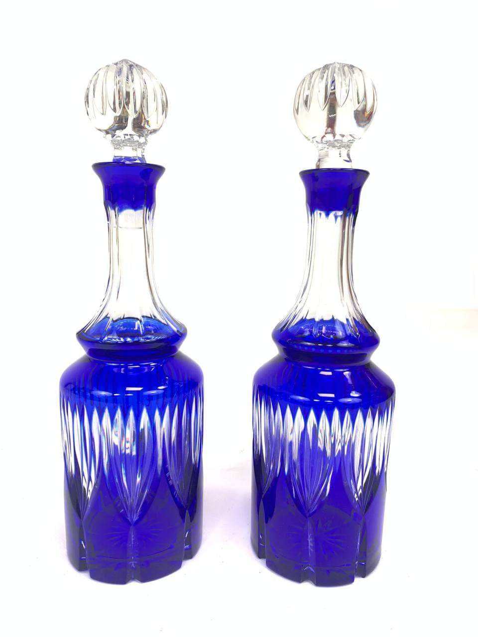 Винтажные большие графины из хрусталя марки Cristal de Paris, модель «Bleu Nina»