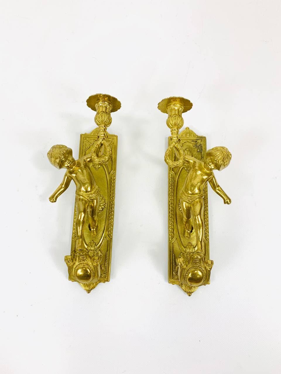 Винтажные бронзовые бра с ангелами